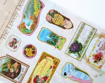 Perfume & Soap Packaging Seal Sticker Sheet with Collage Card - die-cut stickers, scrapbooking, vintage wrappers, bottles, labels