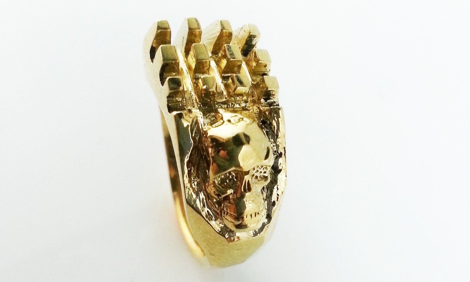 gold skull ring handmade mens ring lost wax by duelingco