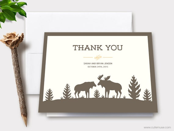 Moose Wedding Thank You Cards Printable, Personalized Note Cards ...