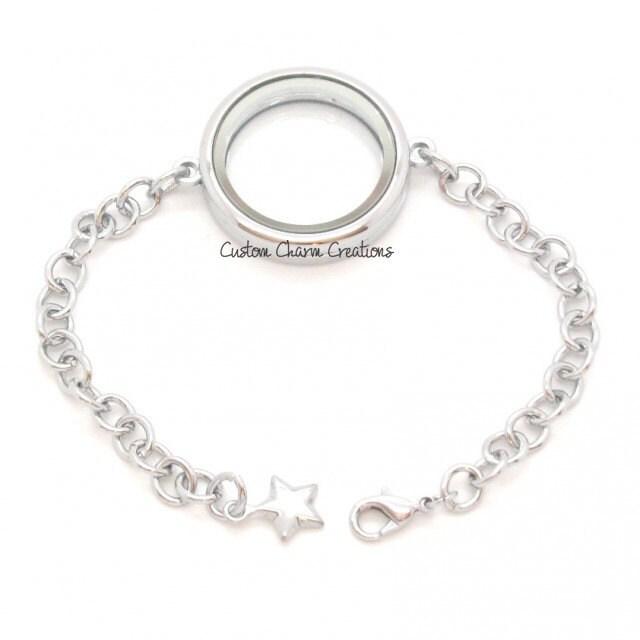 floating locket bracelet magnetic large by customcharmcreation