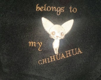 My heart belong to my chihuahua customized embroidered blanket