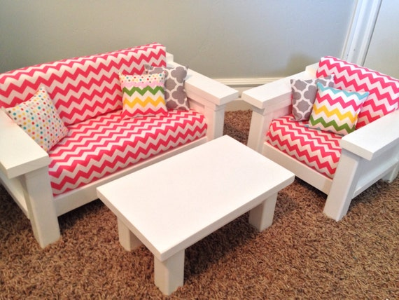 Items Similar To 18 Doll Furniture American Girl Doll Size 3 Pc Living Room Set Sofa Chair