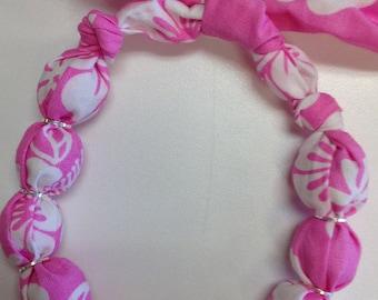 Fabric Wrapped Wood Bead Bracelet Pink Hawaiian Hibiscus Flower