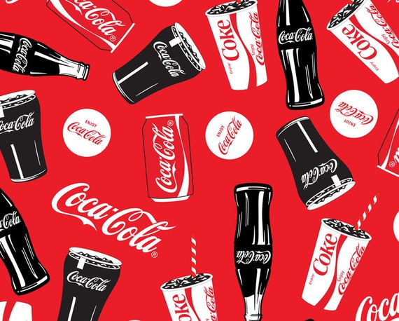 Fleece Coca Cola Bottle Cans Glass Red Sykel Fabric 1496 By