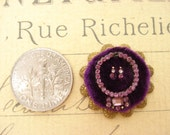 Dollhouse miniatures original vintage handmade amethyst rhinestone necklace and earrings jewelry display