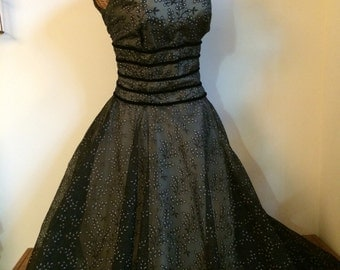 Gorgeous 1950's Vintage prom chiffon lace overlay formal dress with velvet banded waist- XS