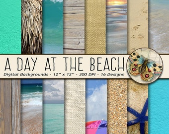 Beach Digital Paper, Beach Photo Backdrops Paper, Beach Textures Digital Paper, Sand, Burlap, Stucco, Ocean, Beach, Sun Umbrella