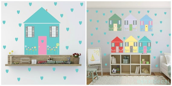FREE SHIPPING Wall Decal 6 Colorful Houses &73 Turquois Hearts. Nursery Wall Decal. Vinyl Wall Decal. Kids Wall Decal. Wall Sticker.