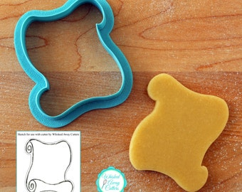Scroll Diploma Treasure Map Cookie Cutter and Fondant Cutter -  **Guidleline Sketch to Print Below**