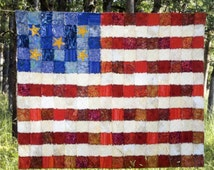 Flag Quilt Pattern, Frizzled Flag, Janae King, Patriotic Quilt Pattern, Rag Edge Quilt Pattern, 4th of July Quilt Pattern, Flag Pattern