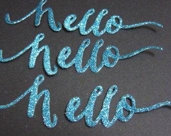 "Set of 3 Blue Glitter ""Hello"" Die Cuts"