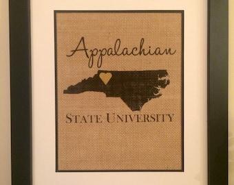 Appalachian State University Burlap Print.  ASU Art. Burlap Art