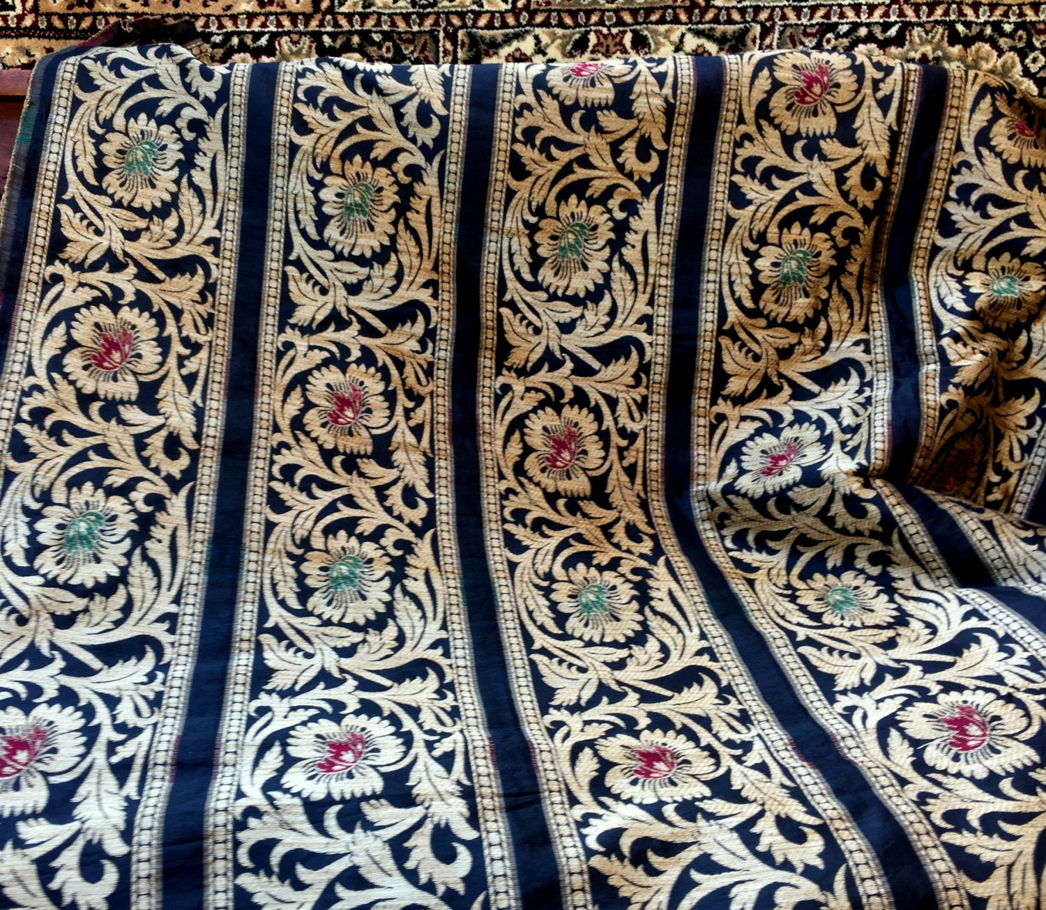 Indian Silk Cotton Brocade Weave Fabric With Floral Pattern