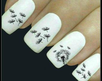 Dandelion nail art etsy flower nail decal dandelion nail art 20 water slide decals fingernail decals nail tattoos nail transfers prinsesfo Gallery