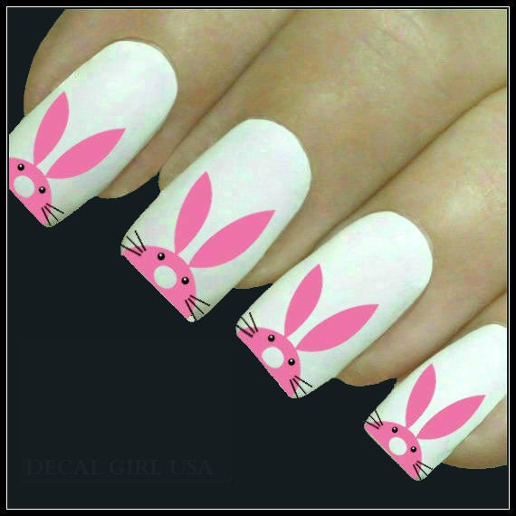 Easter Bunny Nails: Nail Decal Easter Nail Art 20 Bunny Design Water Slide Decals