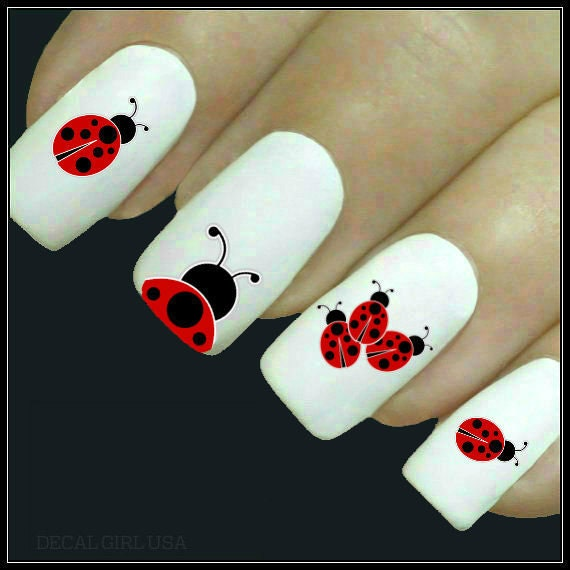 Animal Nail Decal Ladybug Nail Art 20 Water Slide Decals Fingernail