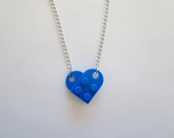 BLUE Lego Heart Necklace