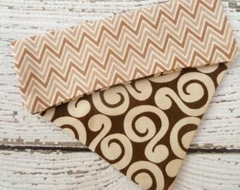 Dog Bandana,  Dog Scarf, Dog Clothes, Slide onto collar style, in modern brown prints