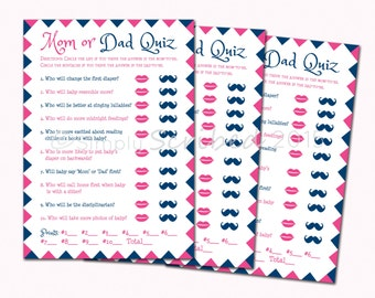Printable Baby Shower Game   Mom Or Dad Trivia   Navy Blue And Hot Pink