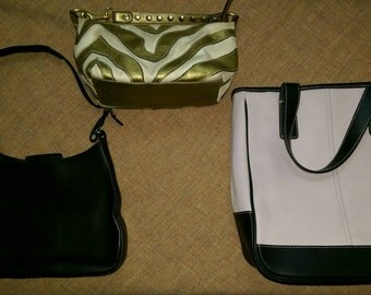 Lot of 3 Coach purses, Leather Jackie O style and canvas