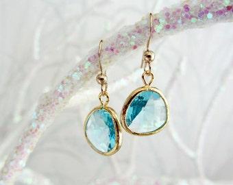 Bezel Aquamarine Drop Earrings/aquamarine earrings