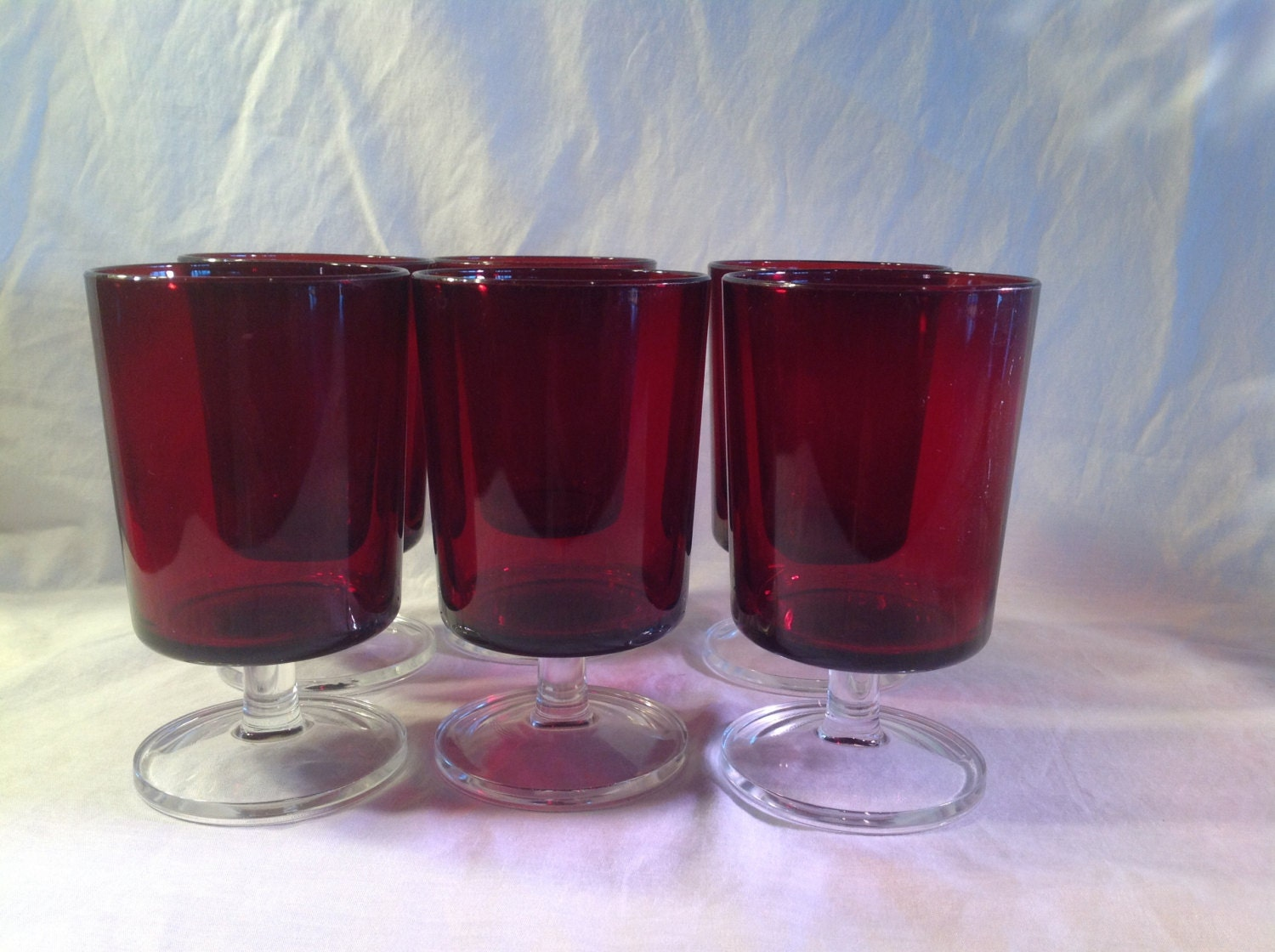 Ruby Red Arcoroc Luminarc Glass Sherbet And Cordial Liqour