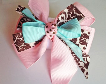 Pink Brown & Aqua Collar Bow for Girl Dog or Cat
