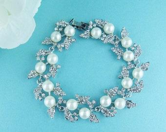 Bridal bracelet, ivory wedding bracelet, rhinestone pearl bracelet, crystal ivory white pearl bracelet, bridal jewelry, 227307115