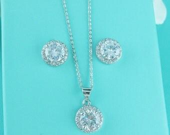 Wedding Jewelry Sets, Crystal Wedding Necklace Set, wedding jewelry set, bridesmaid jewelry set, solitaire jewelry set 228529428
