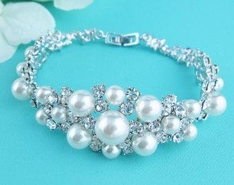 Bridal bracelet, ivory wedding bracelet, rhinestone pearl bracelet, crystal ivory white pearl bracelet, bridal jewelry, 230122021