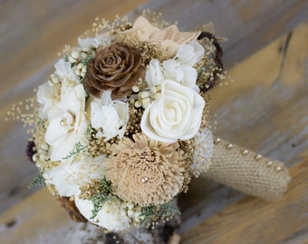 Wedding Bouquet, Bridal Bouquet, Woodland Sola Flower Bouquet, Tan/Natural/ Brown Bridal Bouquet, Keepsake Bouquet,Handmade Bridal Bouquet