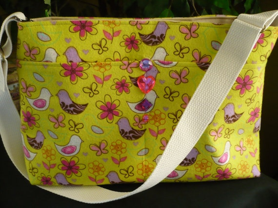 Springtime Birds & Butterflies D Ring Purse Diaper Bag