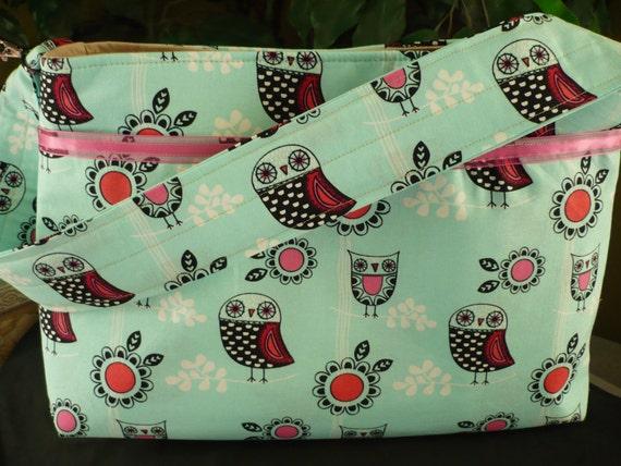 Adorable Owl & Pink Lace Purse Diaper Bag