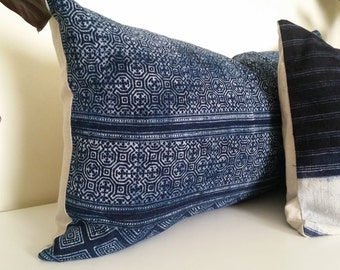 "Authentic Vintage Hmong Indigo Batik Pillow, Natural Indigo Tribal Batik,  14"" x 26"""