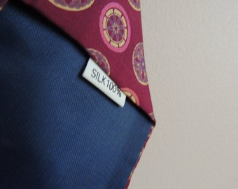 Vintage Silk Dark red tie with  colored circles