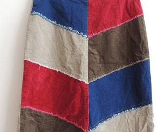 Vintage BLUE ASPHALT Beige, red, blue, brown corduroy denim skirt with zipper, size 7
