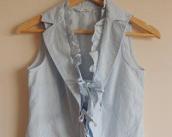 Vintage ANDIATA light blue and white striped sleeveless blouse/ vest with buttons and straps, size 36