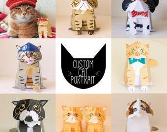 Custom Cat portrait / Pet portrait / Cat Paper craft / Cat Lover Gift / Printable - by Kooee Papercraft