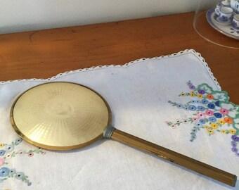 vintage gold tone hand mirror