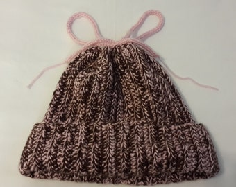 Handmade crochet beanie-neck warmer Brown/Pink