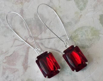 Ruby Red Acrylic Earrings - Rhinestone Earrings - Vintage Inspired Earrings - Anniversary Gifts - Shabby Chic Earrings - Gifts for Her
