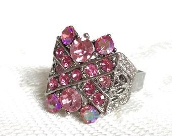 Vintage Pink Aurora Borealis Adjustable Ring on Silver Band