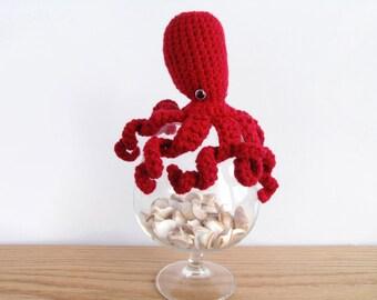 Happy Red Amigurumi Octopus Medium