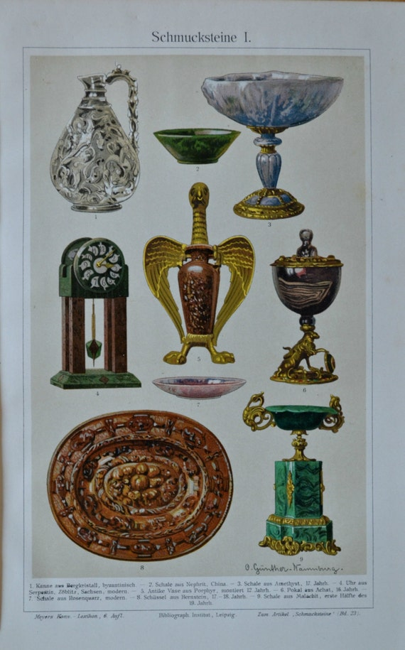 Ancient mineral ornaments. Old book plate, 1904. Antique illustration. 110 years lithograph. 9'6 x 6'2 inches.