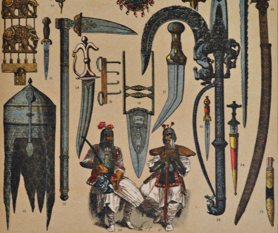 Indian ornaments, jewels and weapons. Antique print,1894.  121 years old print.  11,5 x 8,4 inches.