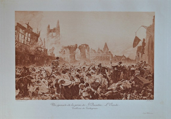 Saint-Quentin pris d'assaut. Antique lithograph. 111 years old print. 11'7 x 8'2 inches.