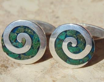 Tono ~ Beautiful Vintage Sterling and Stone Swirl Cuff Links