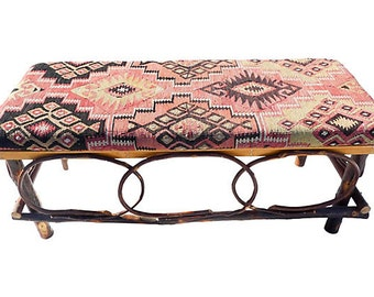 SALE! Org 1295.00 Primitive Cabin or Cottage Bench Amish Hand-Constructed Up-Cycled Vintage Kilim Upholstery