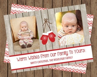 Warm Wishes Christmas Card, Warm Wishes Holiday Card, Christmas Photo Card, DIY Christmas Card, Christmas Sweater Card, Mittens (5x7)