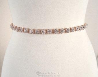 Wedding dress rosegold Belt, Bridal Belt, Wedding Sash, Bridal Sash, Crystal belt, Crystal sash, Bridesmaid Belt ROSEY
